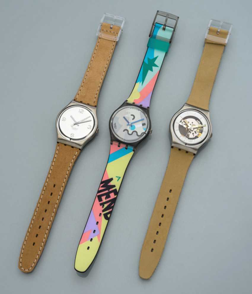 Mixed lot of three SWATCH watches - photo 1