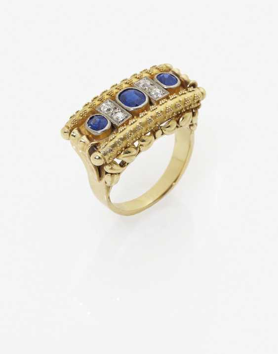 Historical Ring with sapphires and diamonds. Germany, 1930s-1940s - photo 1
