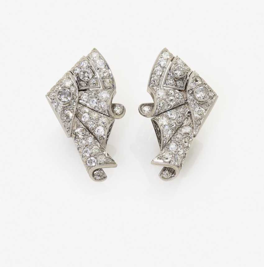 A Pair of clip earrings with diamonds. USA, 1940-1950s - photo 1