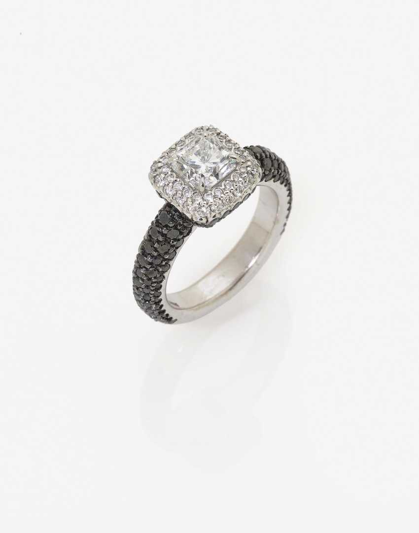 A modified cocktail ring with white and black diamonds. Italy, 2010s - photo 1