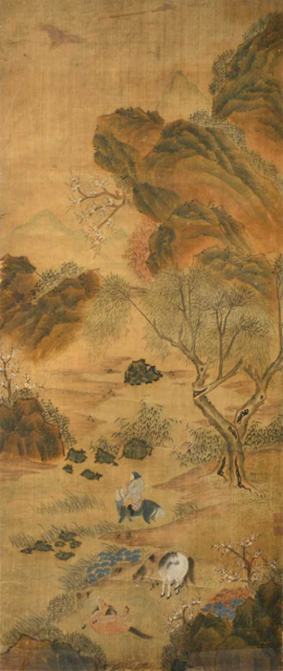 Landscape painting with a horseman and three horses - photo 1