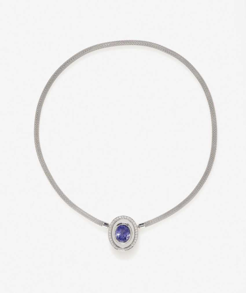 Necklace with violet sapphire and brilliant-cut diamonds. Germany, 2013 - photo 1