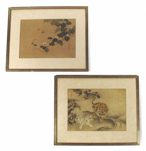 Two silk paintings of tigers and insects - photo 1
