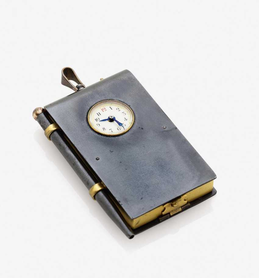Pendant in the shape of a book with watch, Notepad and pen. France, around 1900 - photo 1