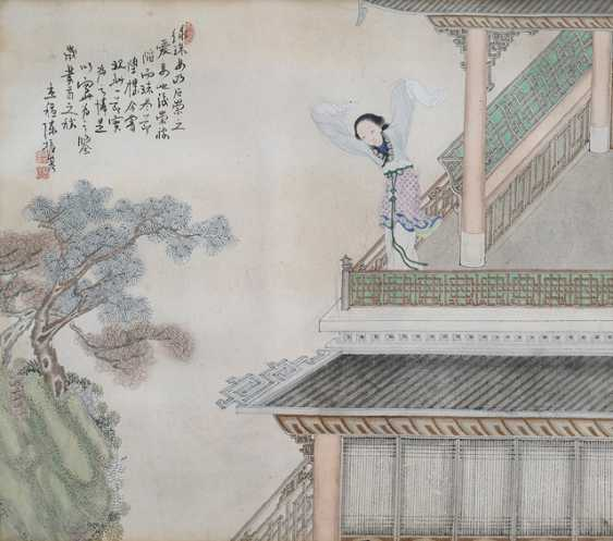 Chen Zhenji: Two paintings of women in architecture, landscape - photo 1
