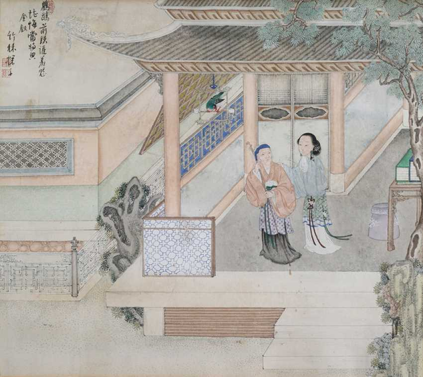 Chen Zhenji: Two paintings of women in architecture, landscape - photo 2