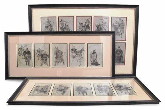 Three frames with 20 book print page with figurative representations - photo 1