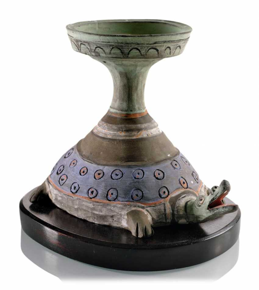 Painted oil Lamp made of clay - photo 1