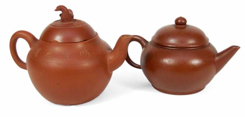 Two small teapots made from Zisha-Ware, including one with an inscription - photo 1