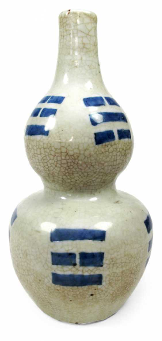 Double gourd vase blue and white decorated porcelain with the Bagua-trigrams - photo 1