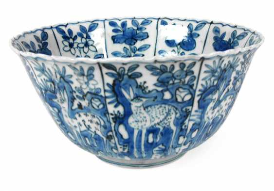 Underglaze blue porcelain dish with depiction of deer in fields - photo 1