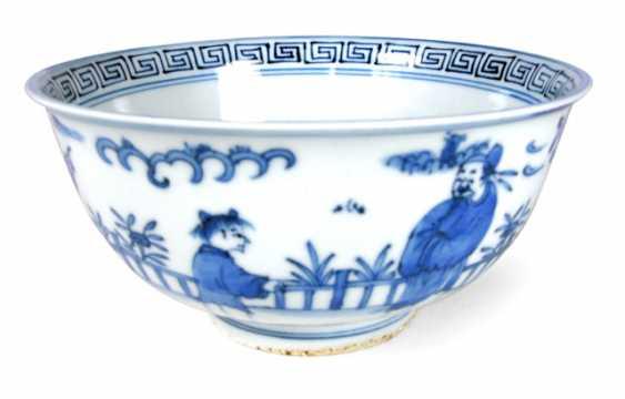 Underglaze blue porcelain bowl with figural landscape scene - photo 1