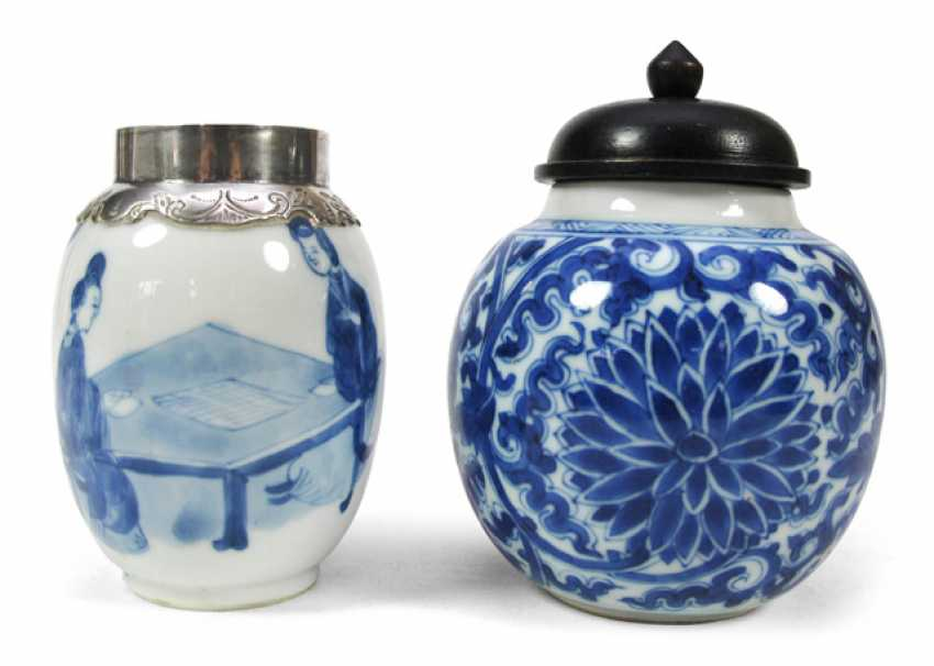 Underglaze blue pot with wooden lid and Vase with silver mount, porcelain - photo 1