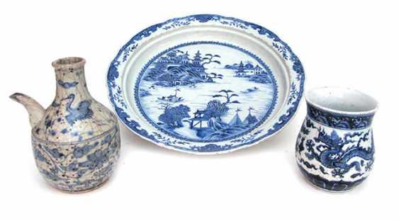 Group of three underglaze blue porcelain: plate, spittoon, and a jug - photo 1