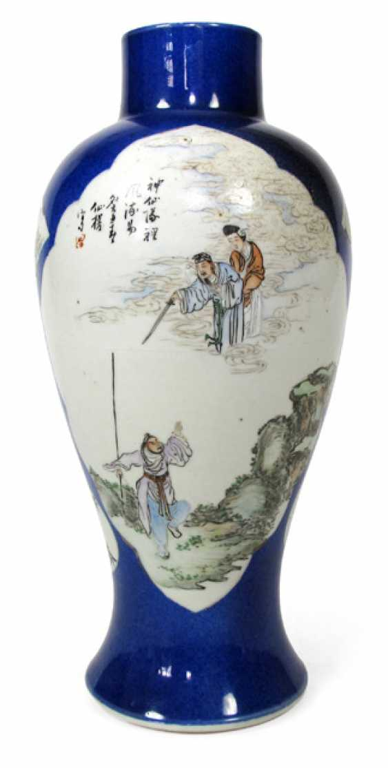 Vase made of porcelain with figural scenes in reserves on a blue Fond - photo 1