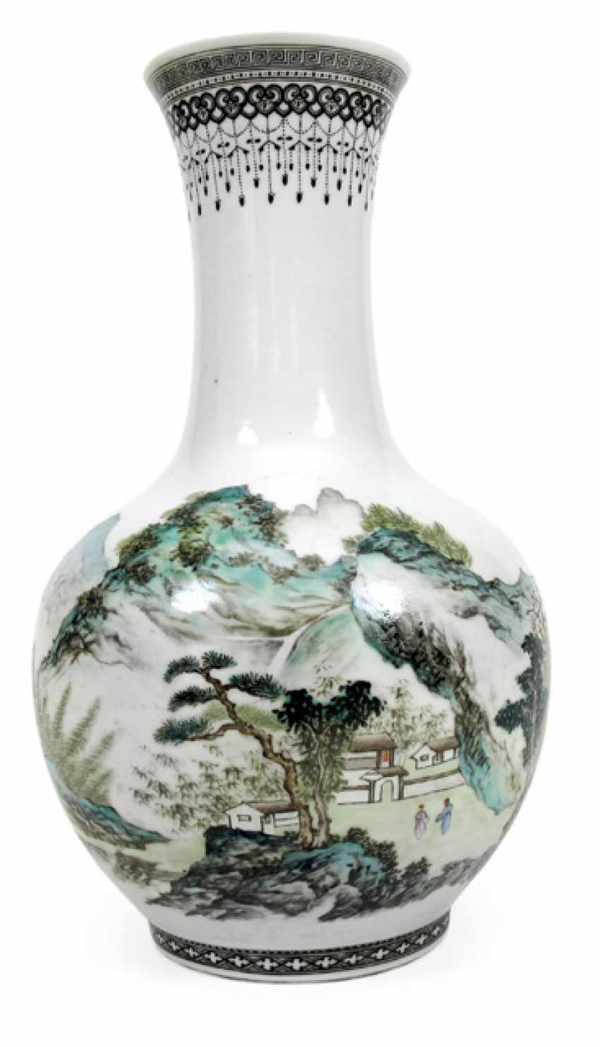 Polychrome decorated Vase, made of porcelain with landscape decor - photo 1