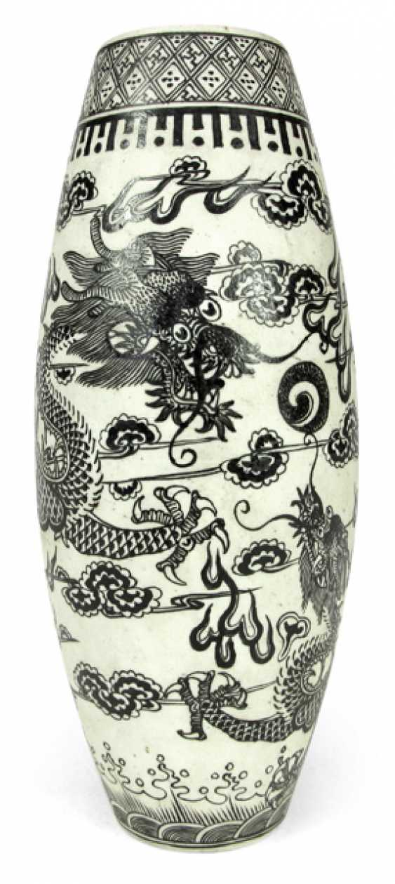 Biscuit porcelain Vase with decoration of two black dragon between clouds in Overglaze - photo 1