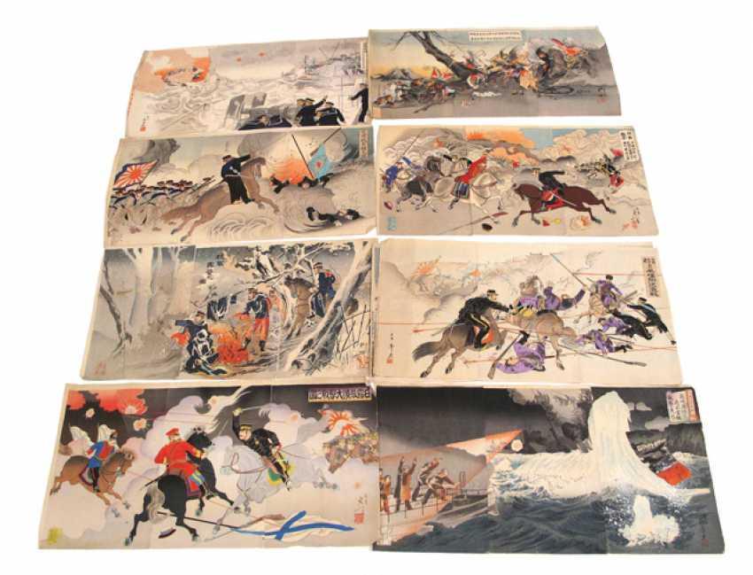 Neun Holzschnitt-Triptychen mit Szenen aus dem Japanisch-Russischen ...