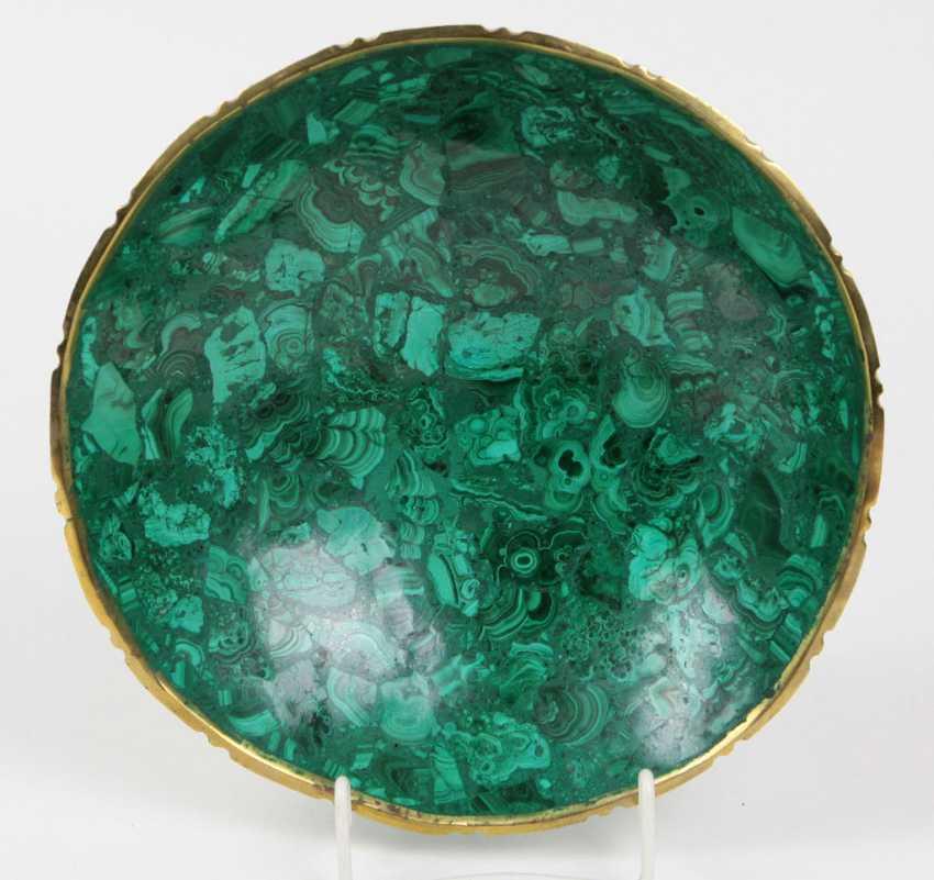 Malachite bowl with brass rim - photo 1