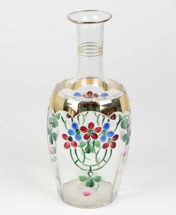 Art Nouveau Glass Vase Enamel Painting - photo 1