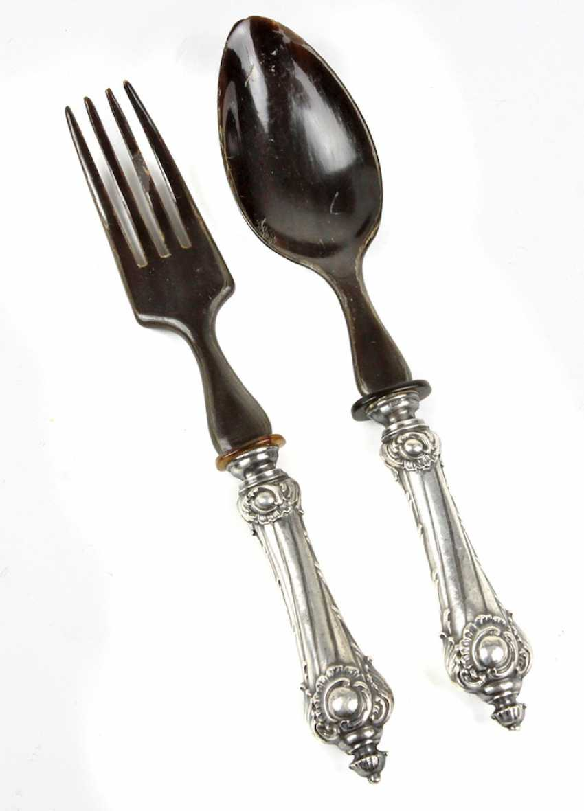 Salad utensils with silver handles to 1890/1900 - photo 1