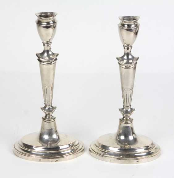 2 candlesticks, Empire style, of Hamburg around 1800 - photo 1
