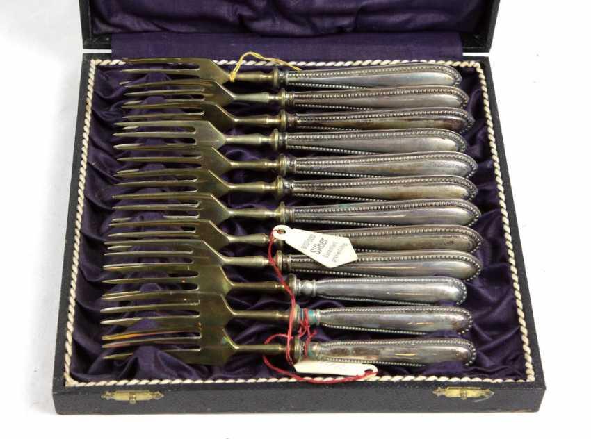 Set Of Dessert Forks, Silver 800 - photo 1