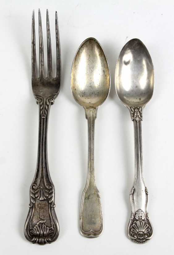 3 Silver Pieces Of Cutlery - photo 1