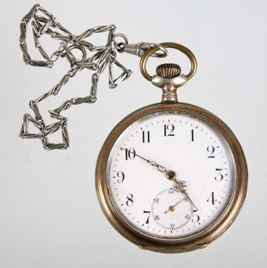 Silver pocket watch with chain - photo 1