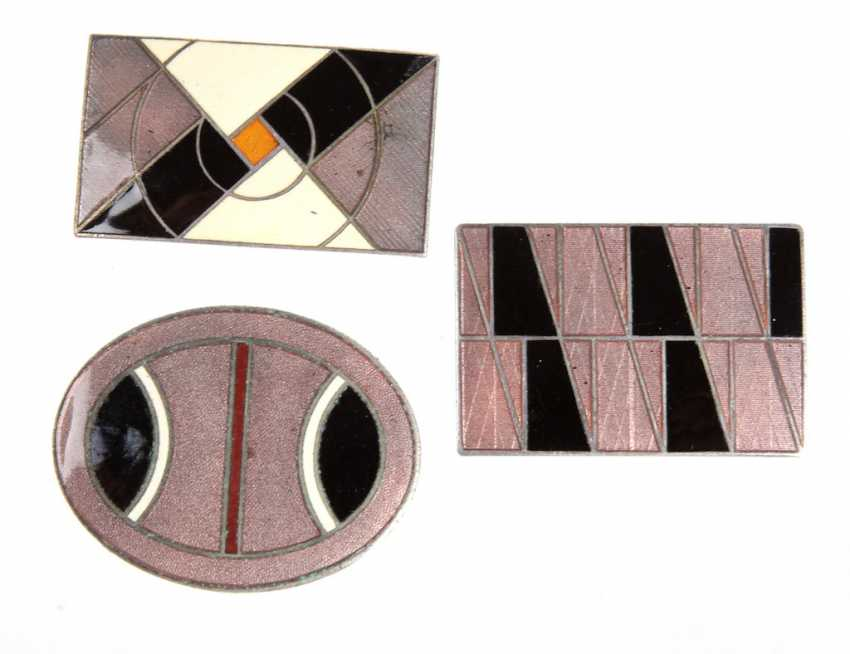 3 Art Deco Enamel Brooches - photo 1