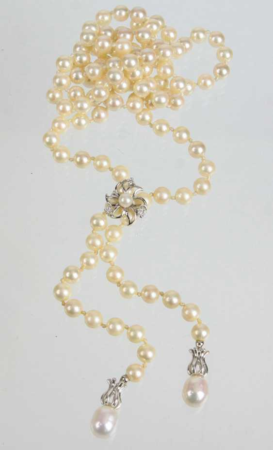 long Akoya pearl necklace with chain shortener - photo 1