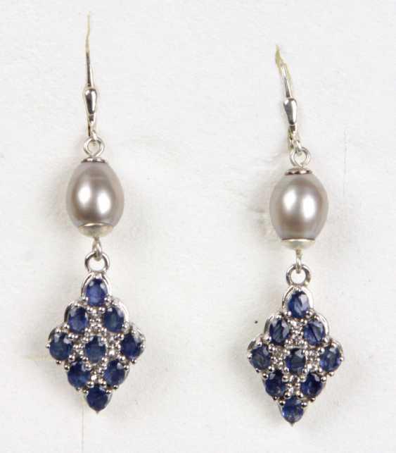 Perl-Sapphire Earrings - photo 1