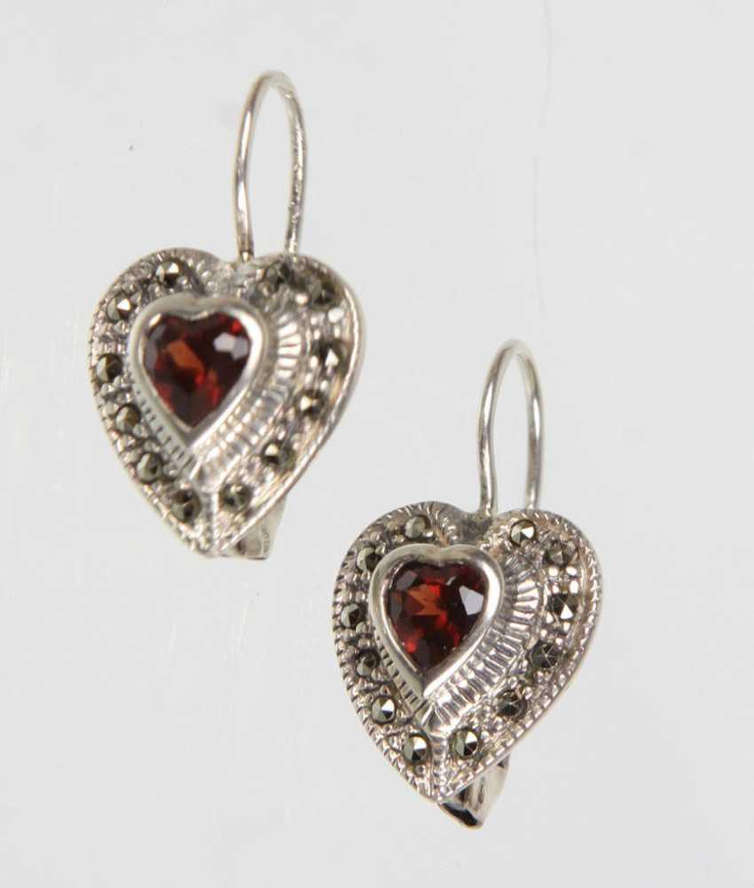 Garnet Heart Earrings - photo 1