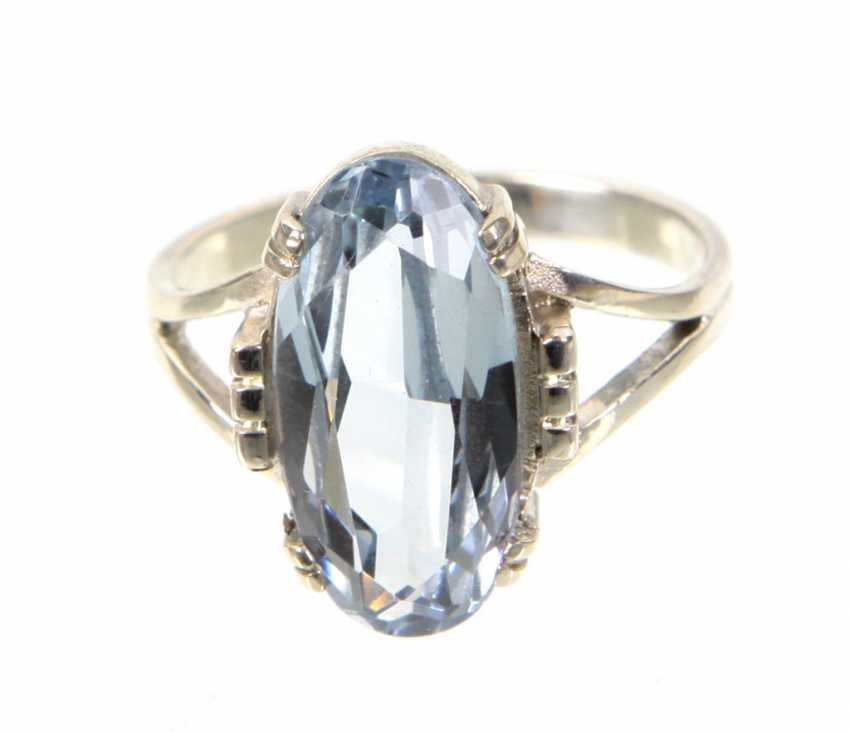 Art Deco Ring with aquamarine spinel - photo 1