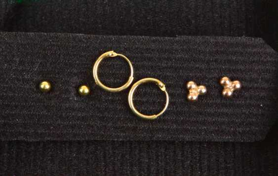 3 Pair of earrings in yellow gold 585/333 including - photo 1