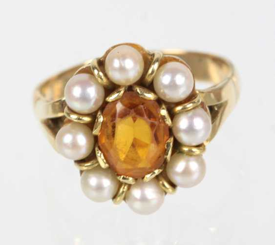 Citrine Ring with Akoya pearl yellow gold 585 - photo 1