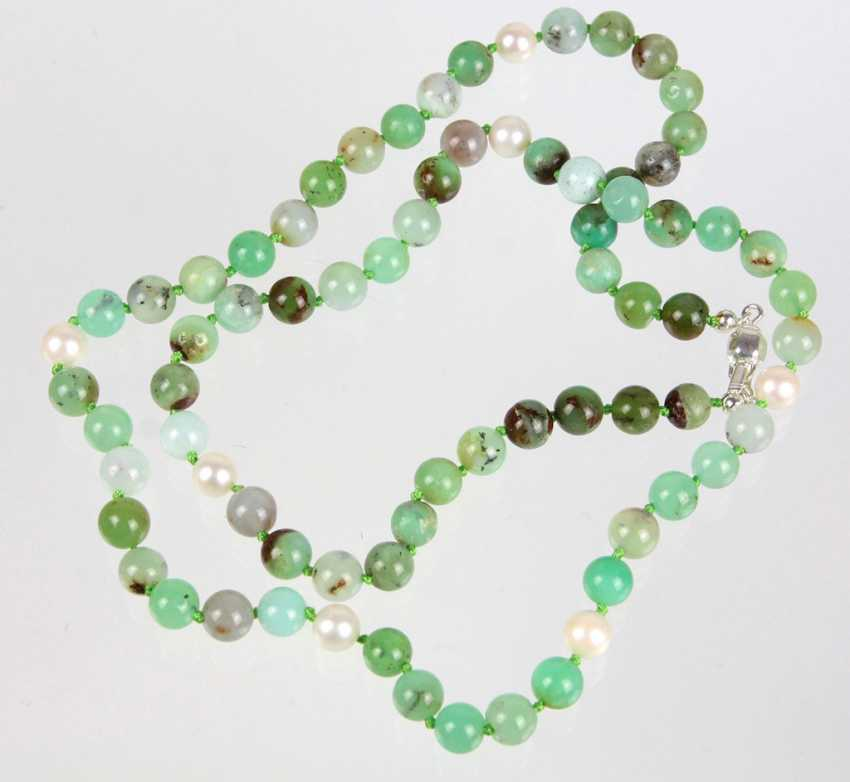 Chrysoprase Akoya Pearl Necklace - photo 1