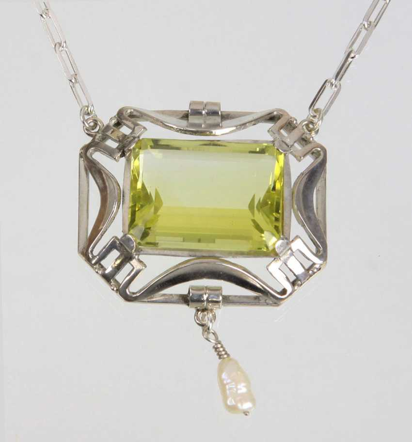 Art Deco necklace with citrine - photo 1
