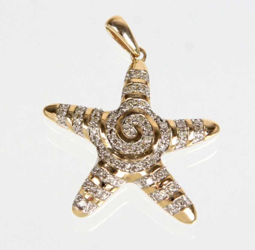 Brilliant Starfish Pendant In Yellow Gold 375 - photo 1
