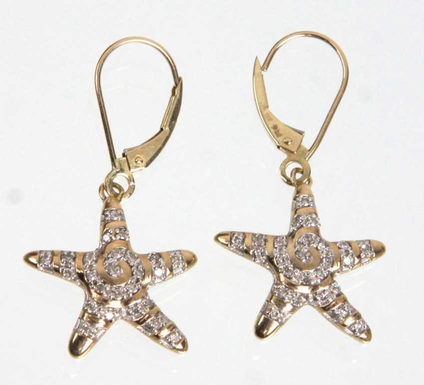 Brillante Étoile Boucles D'Oreille En Or Jaune 375 - photo 1