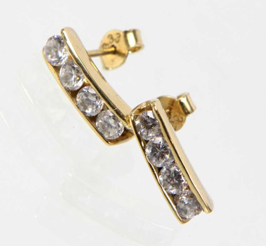 Cubic Zirconia Earrings - Yellow Gold 333 - photo 1