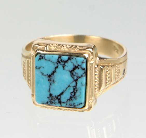 Turquoise Ring - Yellow Gold 585 - photo 1