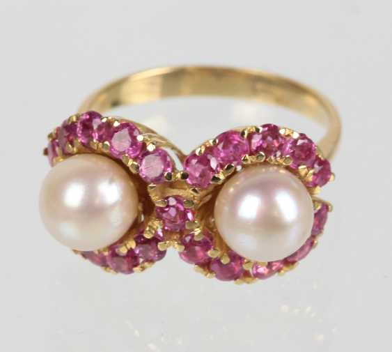 Akoya pearl Ring with ruby yellow gold 585 - photo 1