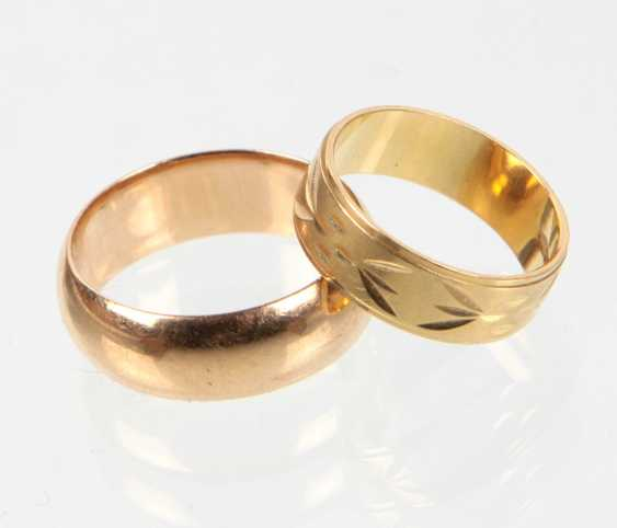 2 wedding rings - yellow gold 585 & 750 - photo 1