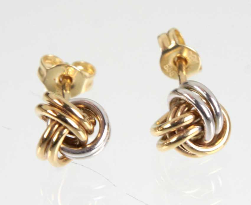 Bicolor ear studs - yellow-gold/WG 585 - photo 1
