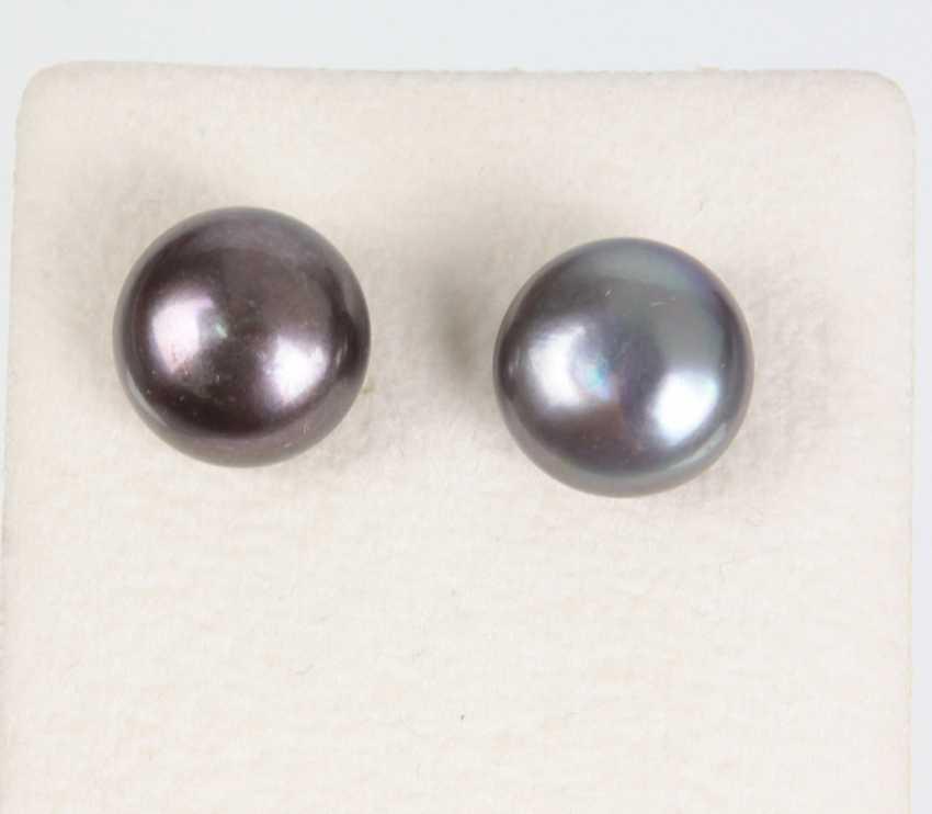 natural grey pearl stud earrings - photo 1