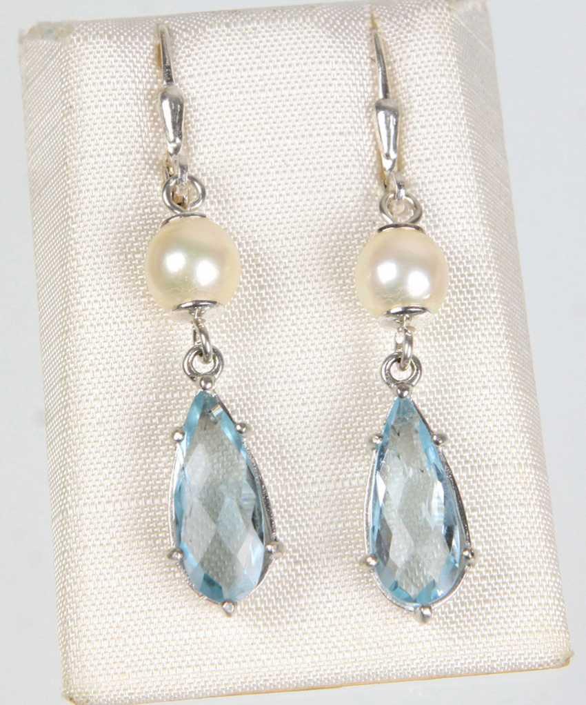 Topaz, Akoya Pearl Earrings - photo 1