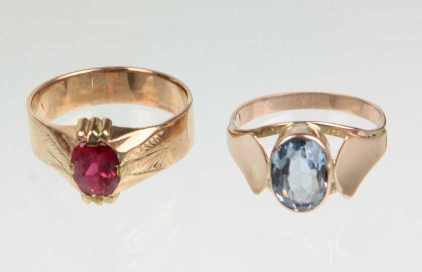 2 ladies rings with trim - yellow gold/RG 333 - photo 1