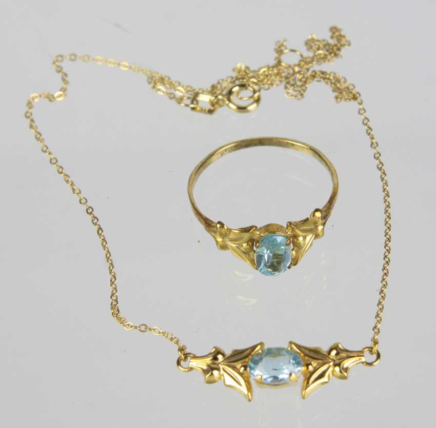 Blue Topaz necklace & Ring - yellow gold 333 - photo 1