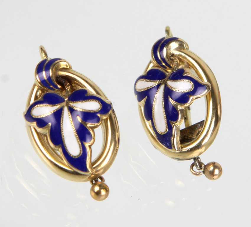 Biedermeier enamel earrings circa 1840 - photo 1